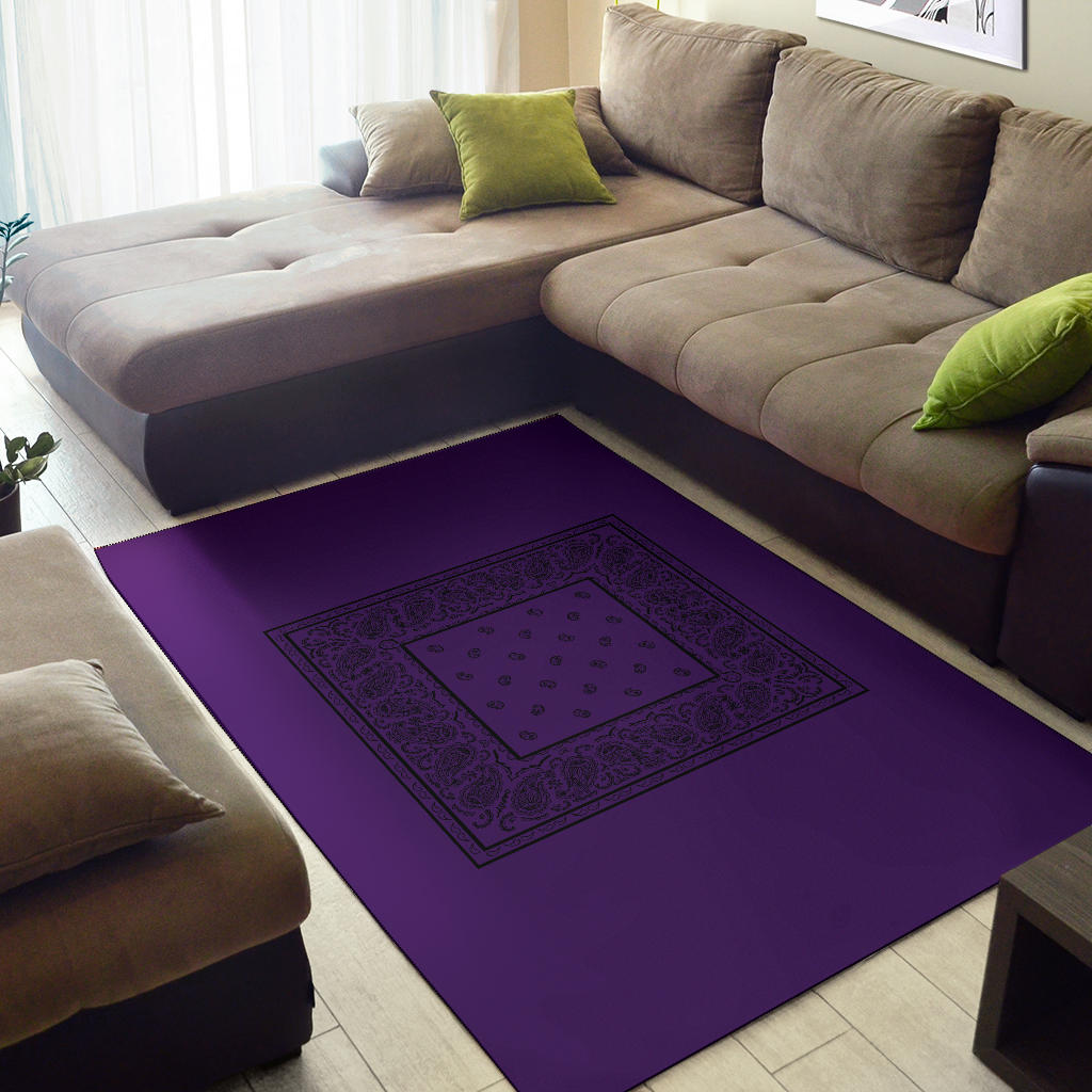 Purple and Black Bandana Area Rugs - Minimal
