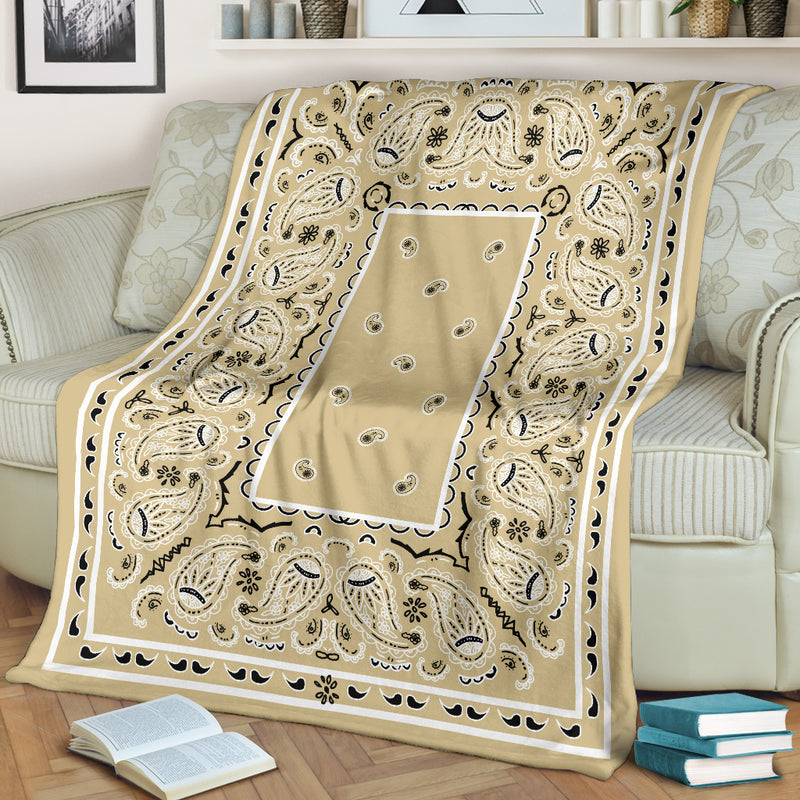Khaki Bandana Fleece Throw Blanket