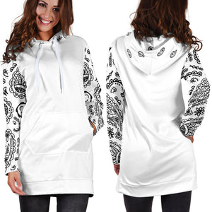 Front and Back White Bandana Hoodie Dress