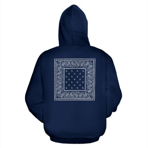 navy blue bandana pullover hoodie