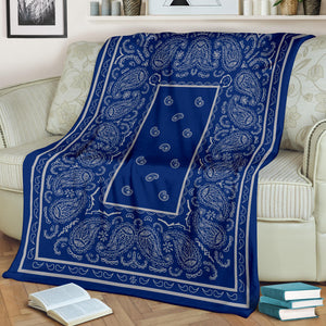 Blue and Gray Bandana Throw Blankets
