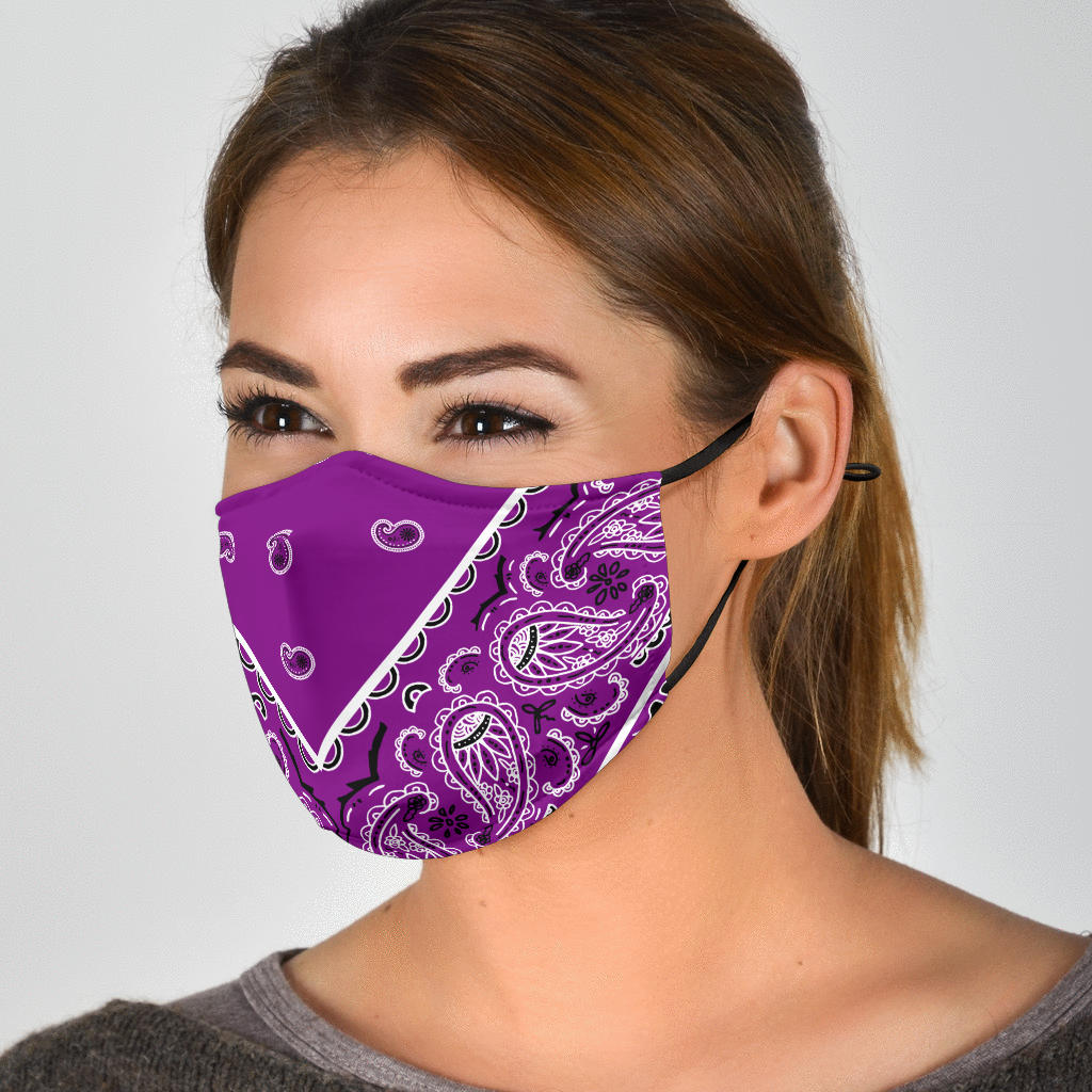 Adjustable Plum Bandana Face Mask with 5 Layer Filters