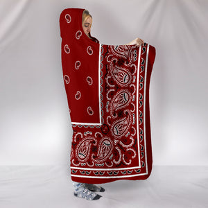 Maroon Bandana Hooded Blanket Side