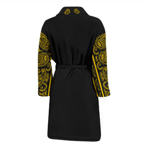 back view of black and gold bandana robe
