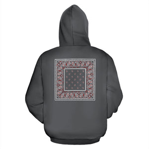gray and red bandana zip hoodie back view