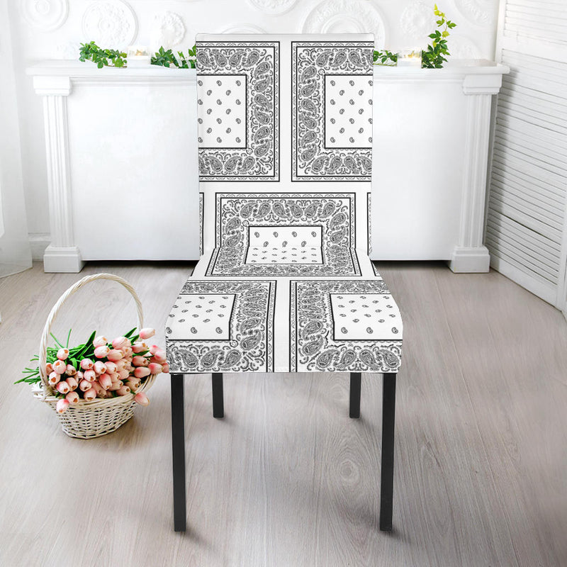 White Paisley Dining Chair Slipcovers