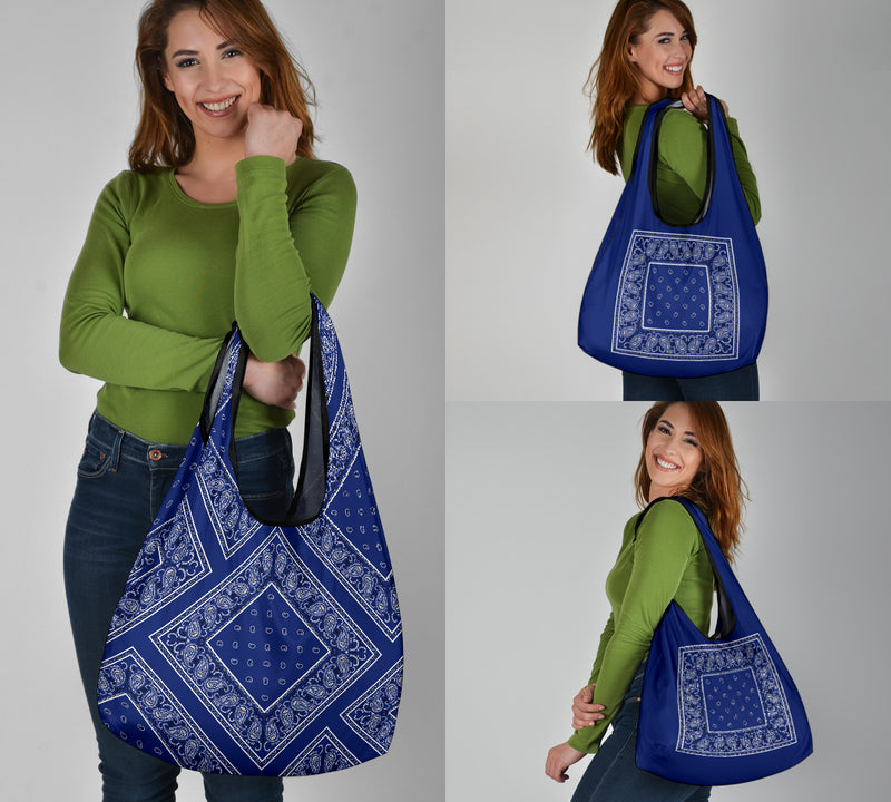 blue bandana shopping bags