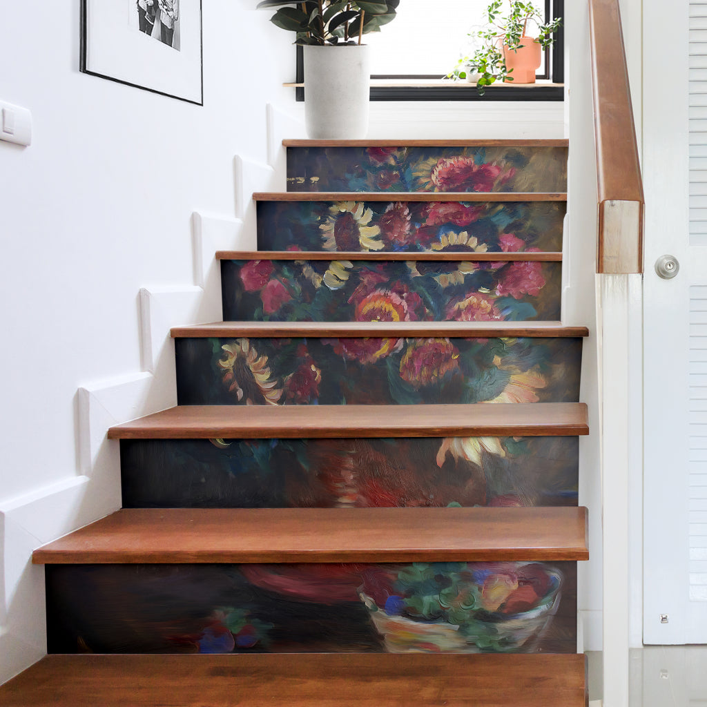 The Sunflower Bouquet Stair Stickers Fine Art Painting