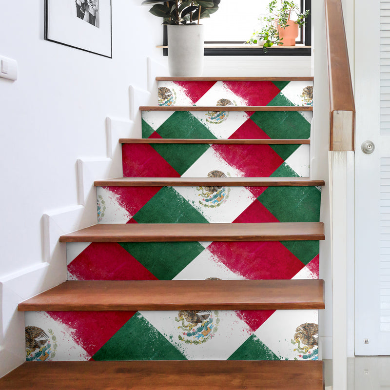 Mexican flag stairway decor