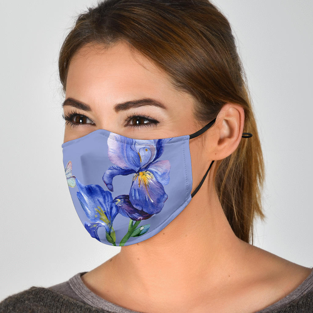 Pretty Iris and Dragonfly Purple Face Mask