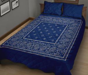 Blue and Gray Bandana Bed Quilts with Shams