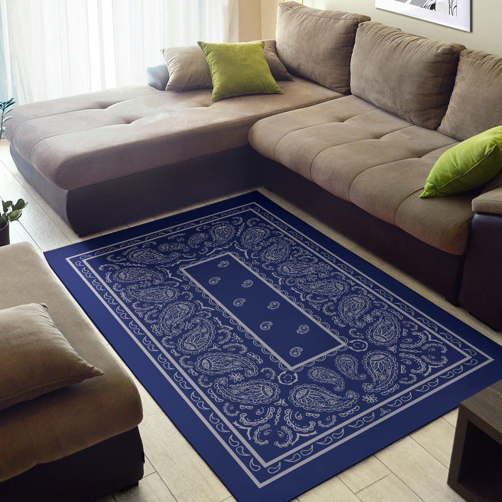 blue and gray bandana throw rug