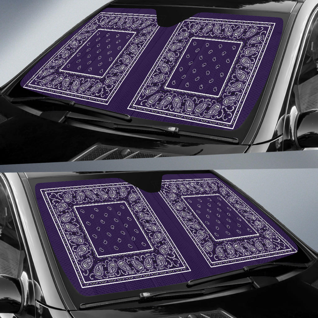 Royal Purple Bandana Car Window Shade
