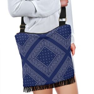 blue and gray bandana crossbody bag front