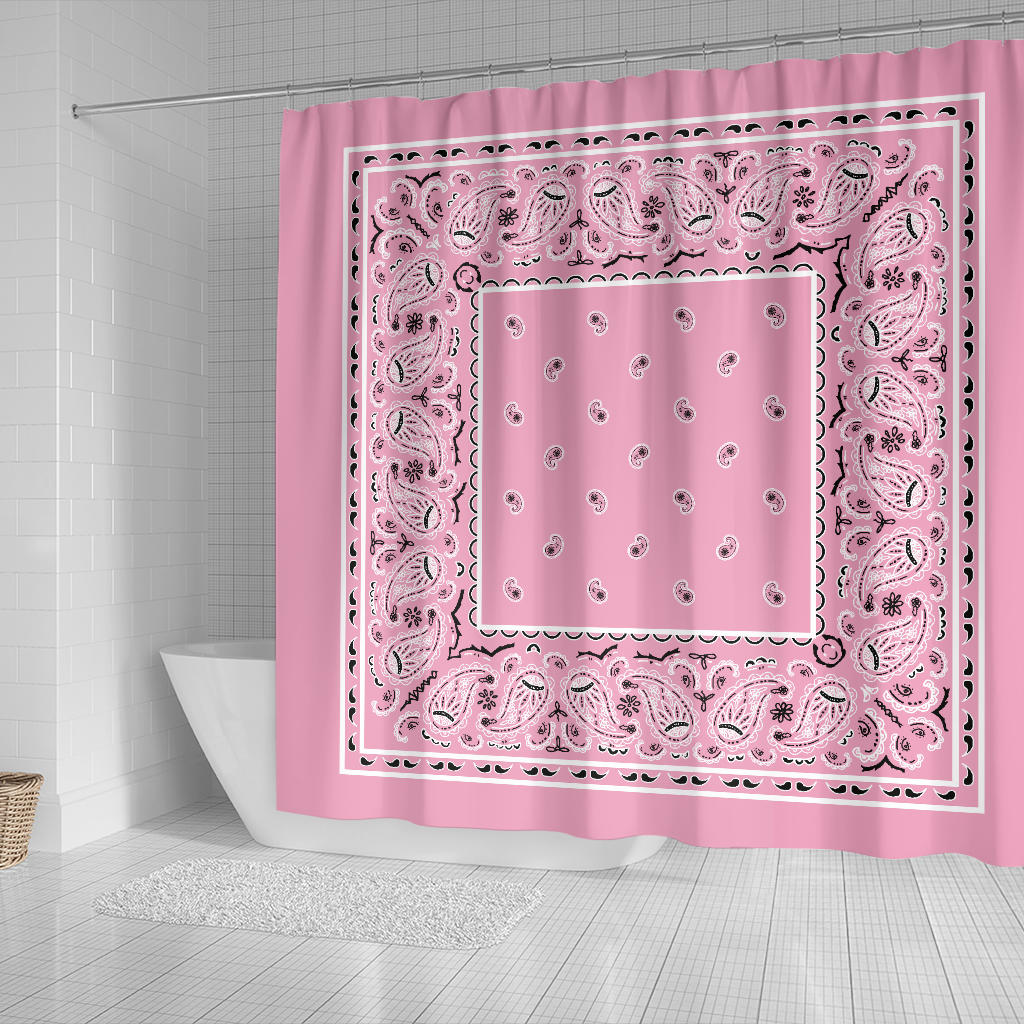 Light Pink Bandana Shower Curtains