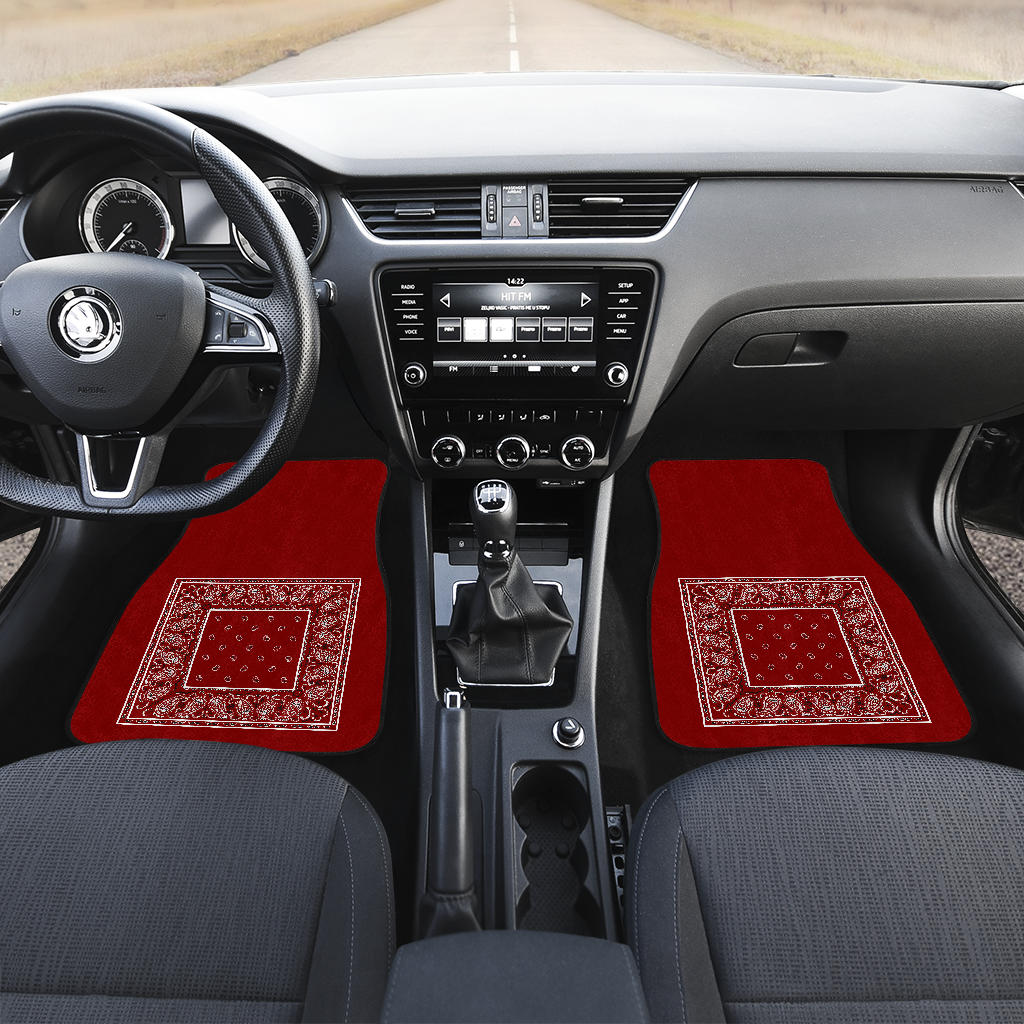 maroon bandana muscle car floor mats