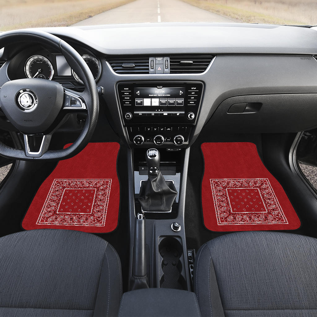 red bandana muscle car auto mats