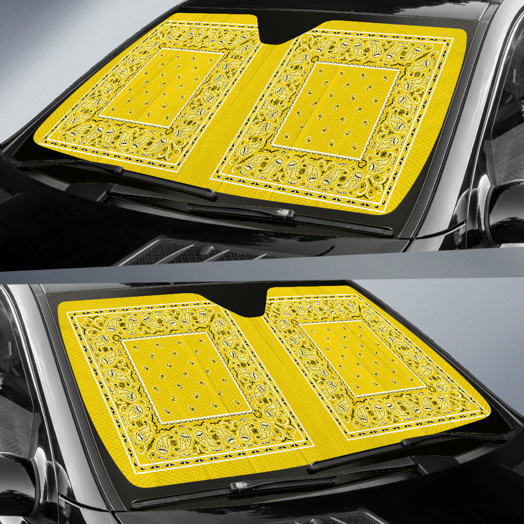 Sunshine Yellow Bandana Car Window Shade