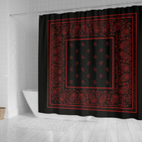 black and red bandana shower curtains