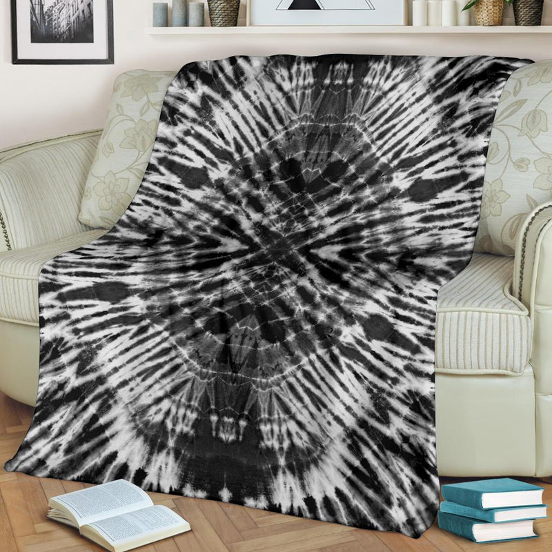 Black and White Tie Dye Fleece Throw Blanket