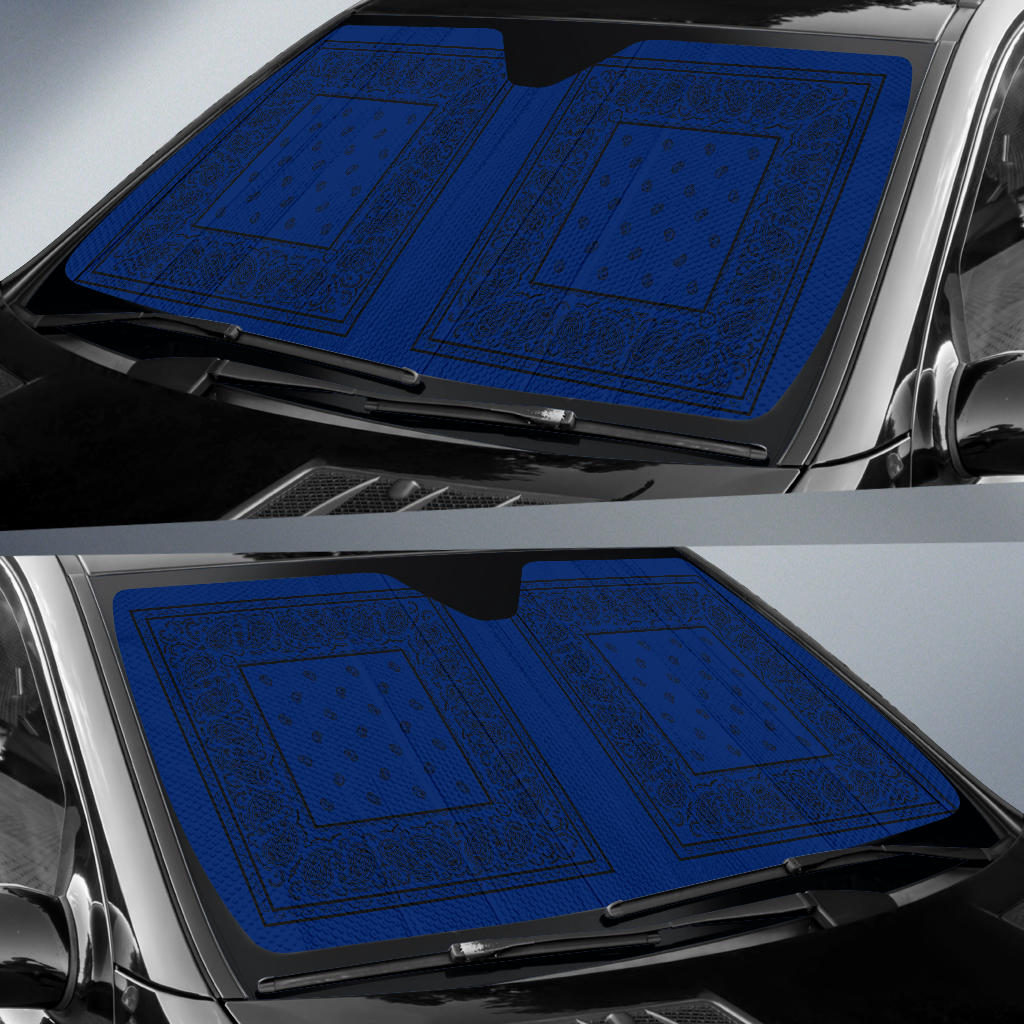 Blue and Black Bandana Car Window Shade