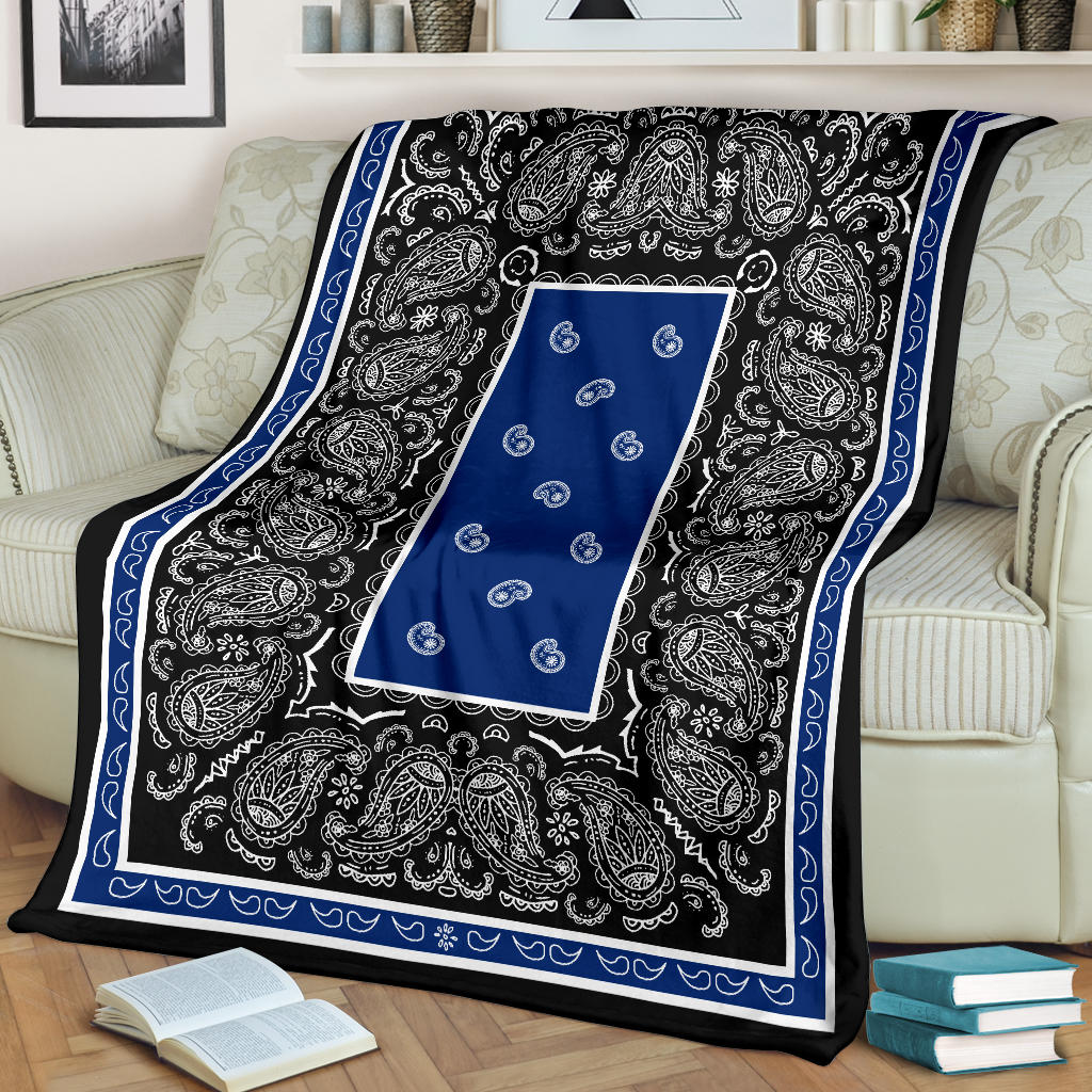 Blue and Black Bandana Throw Blankets