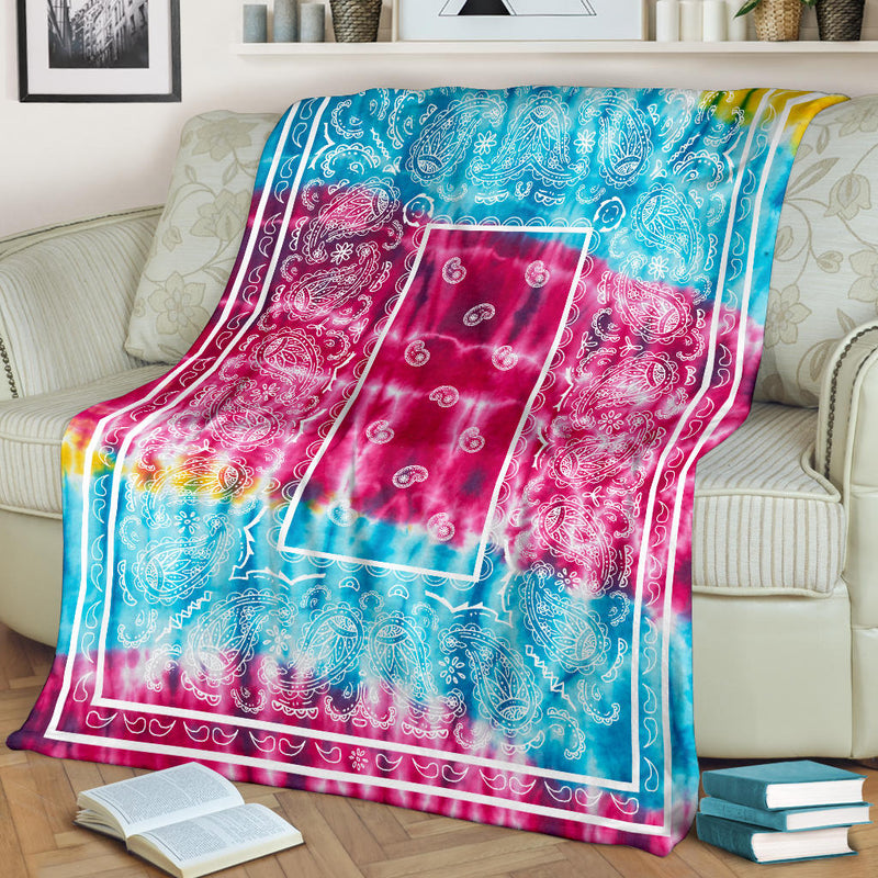 Striped Hippie Tie Dye Bandana Fleece Throw