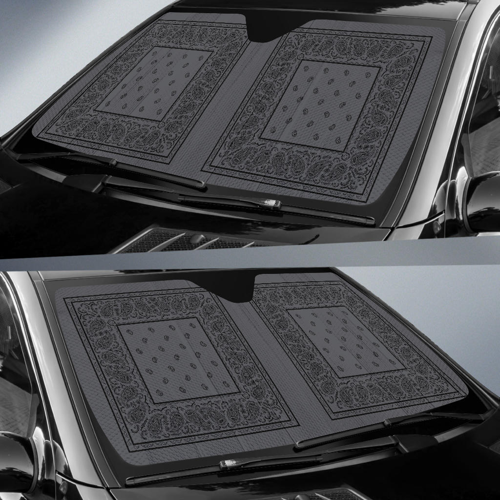 Gray and Black Bandana Car Window Shade