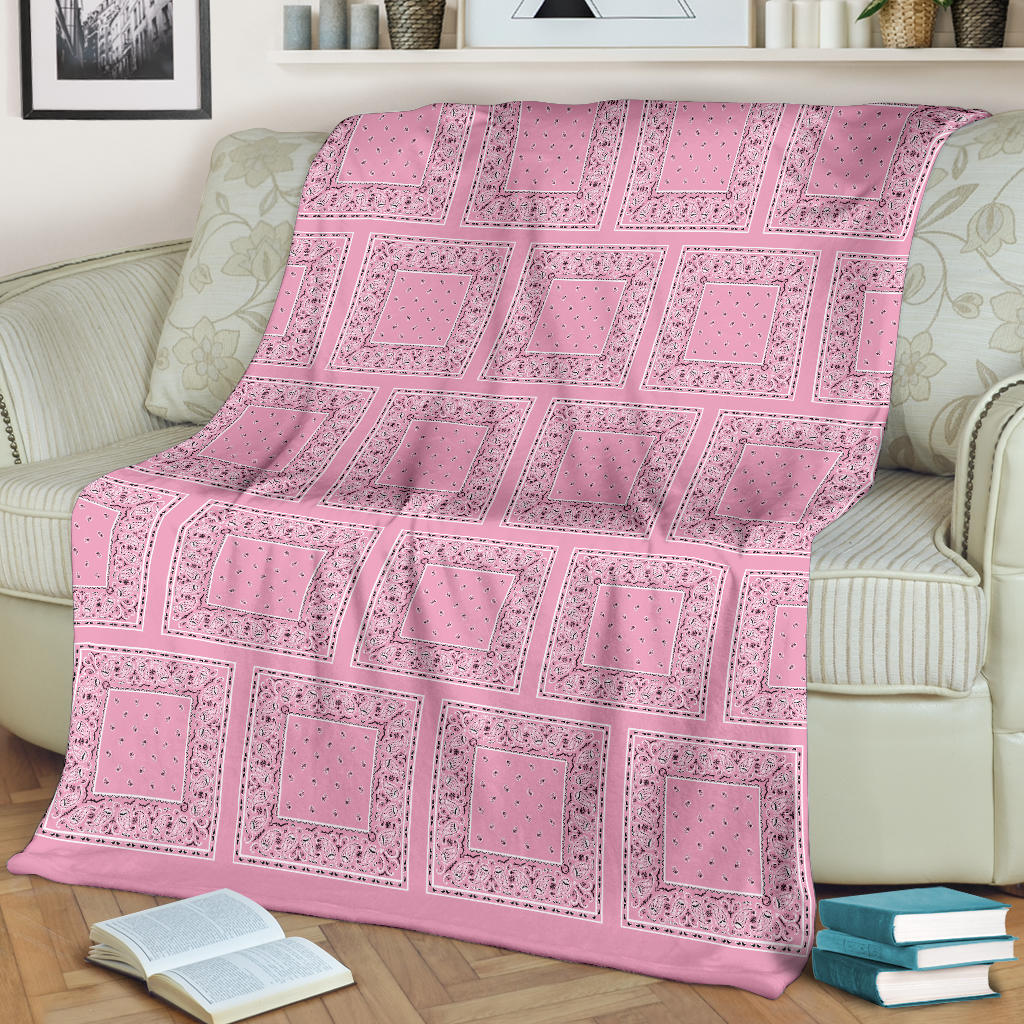 Ultra Plush Light Pink Bandana Patch Throw Blanket