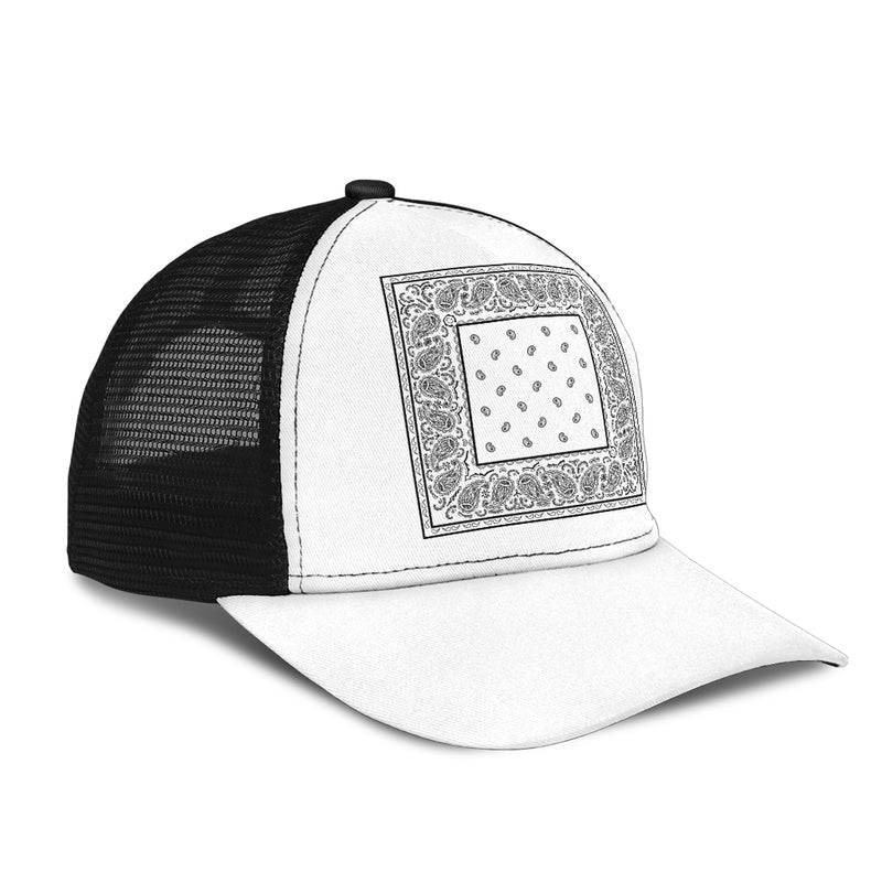White Bandana Simple Mesh Back Cap