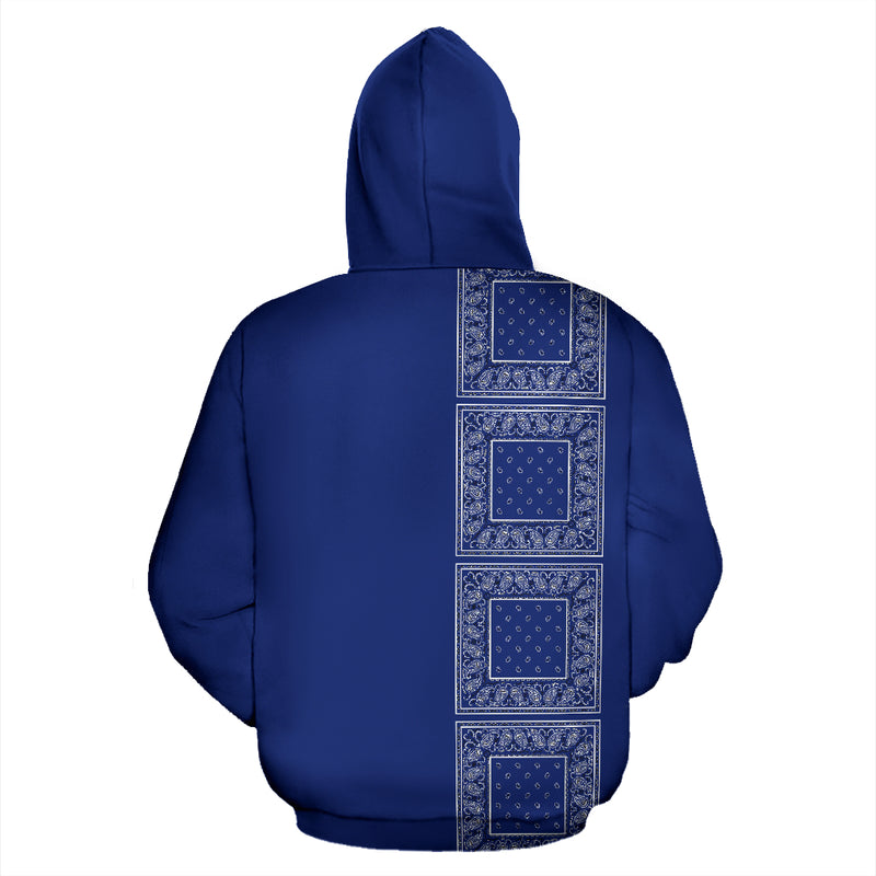 blue bandana pullover hoodie back view