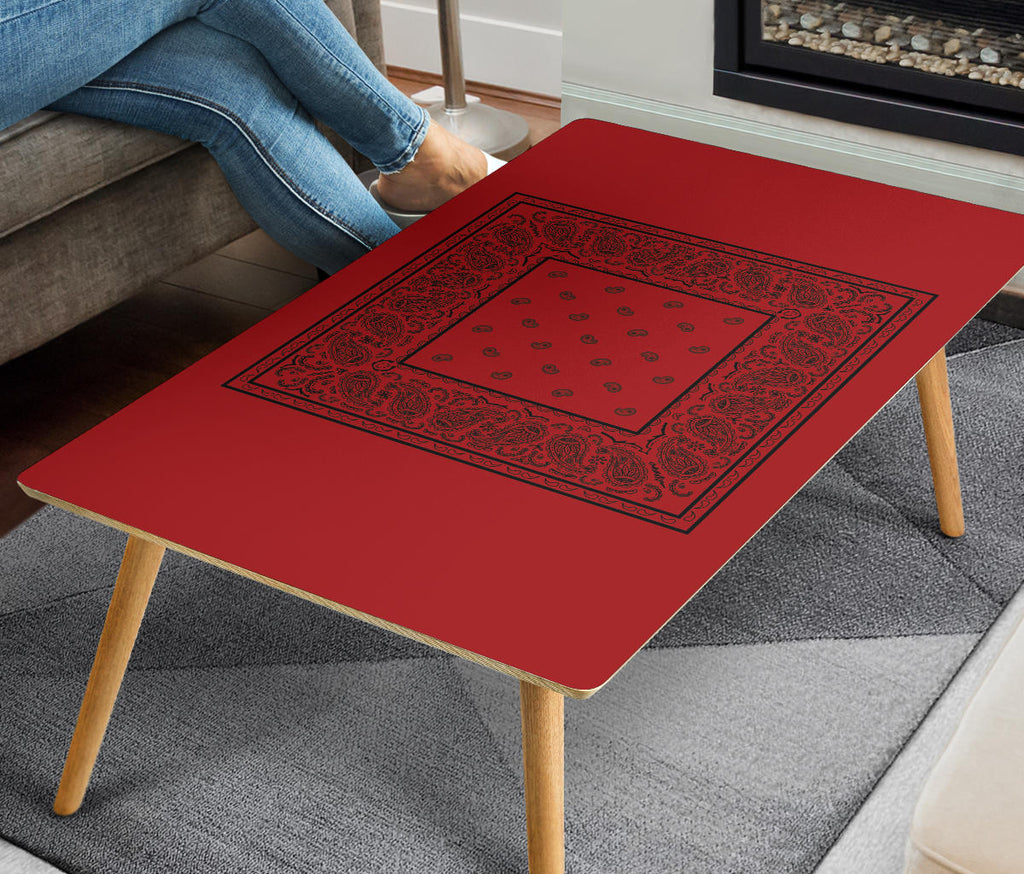 Red and Black Bandana Rectangular Coffee Table