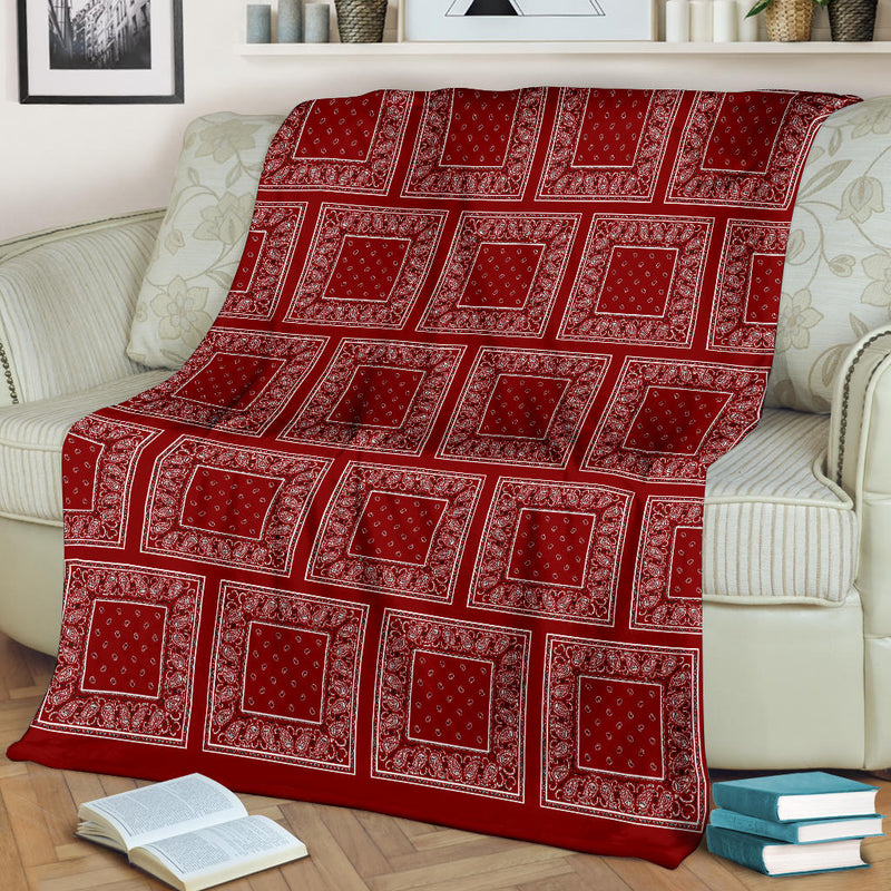 Ultra Plush Maroon Bandana Patch Throw Blanket