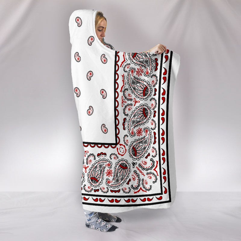 White Bandana Hooded Blanket Side
