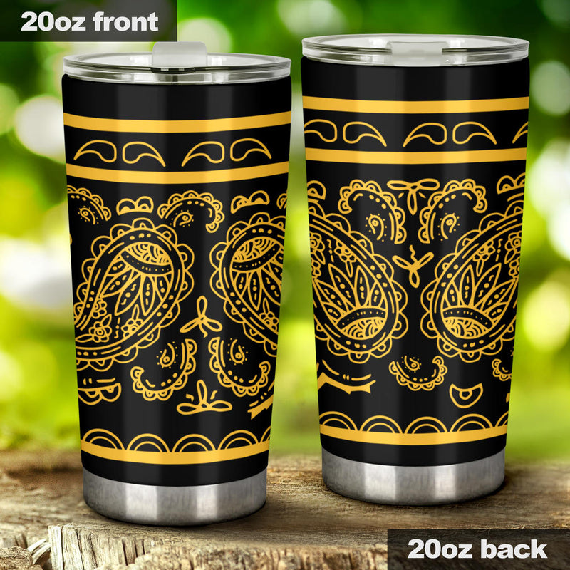 tailgate party drink tumblers with bandana print