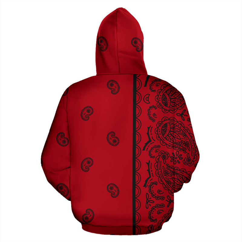 red and black bandana hoodie back view