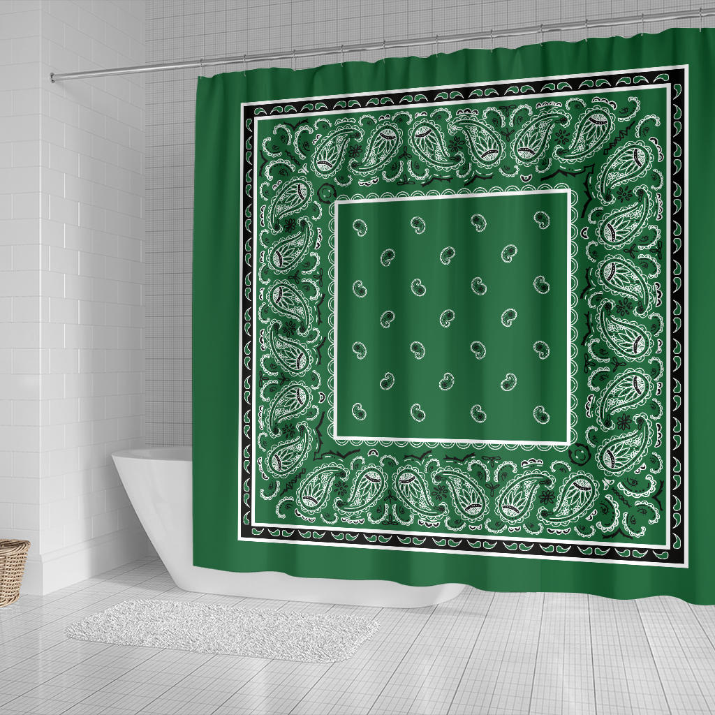 Green Bandana Shower Curtains