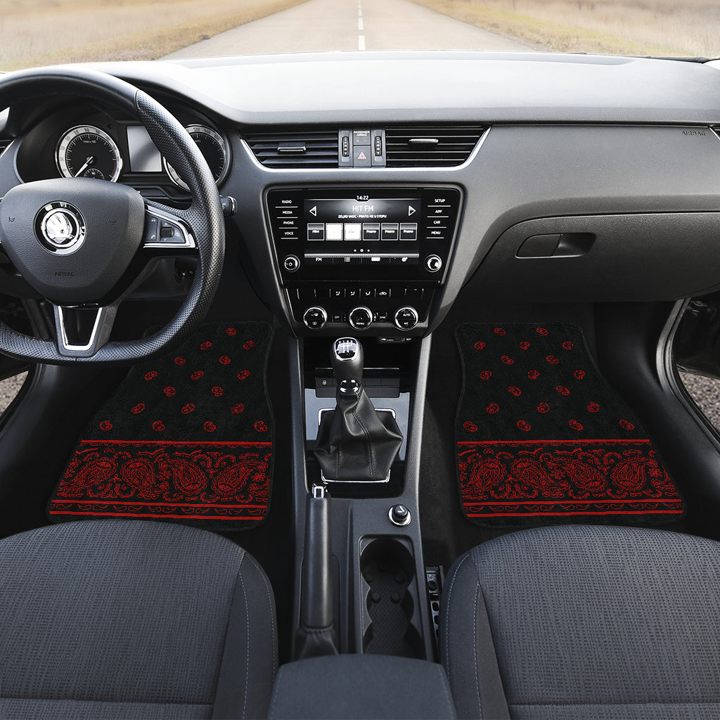 Black and Red bandana muscle car floor mats