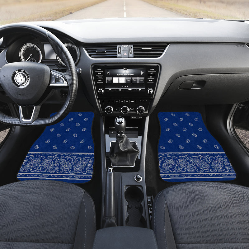 blue and gray bandana floor mats