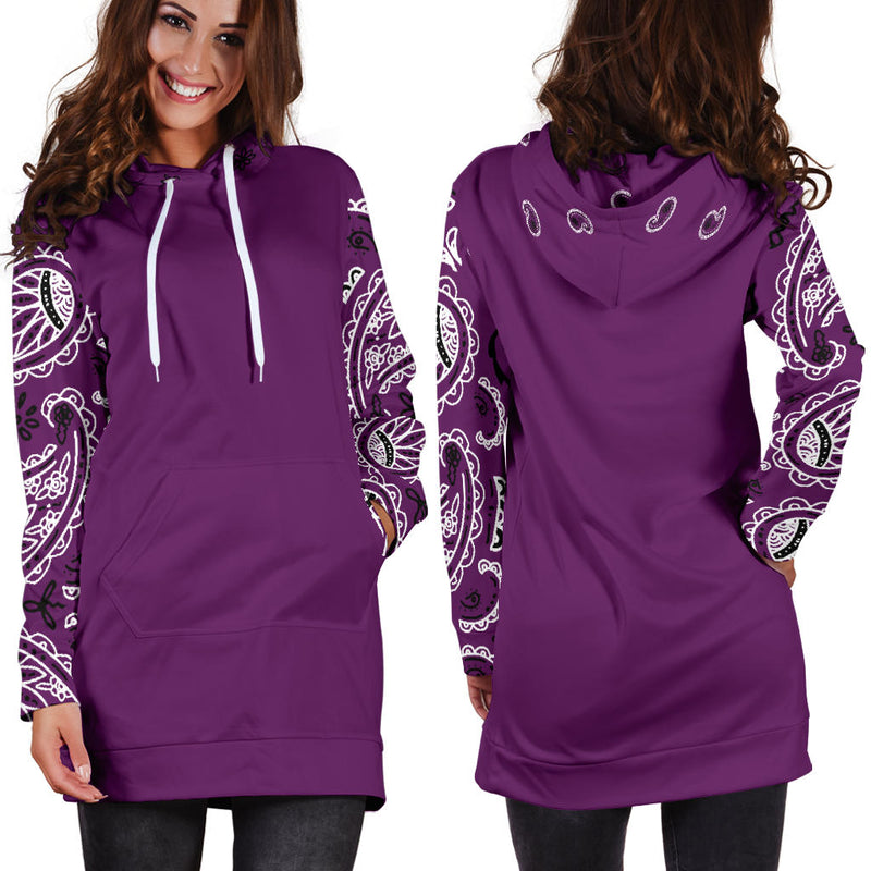 Front and Back Wild Plum Bandana Hoodie Dress