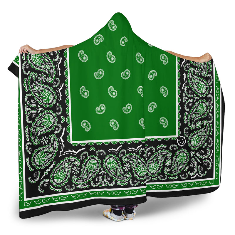 Green and Black Hooded Sherpa Blanket