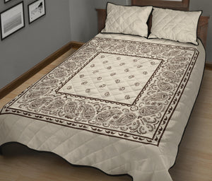 Cream and Brown Bandana Bed Quilts with Shams