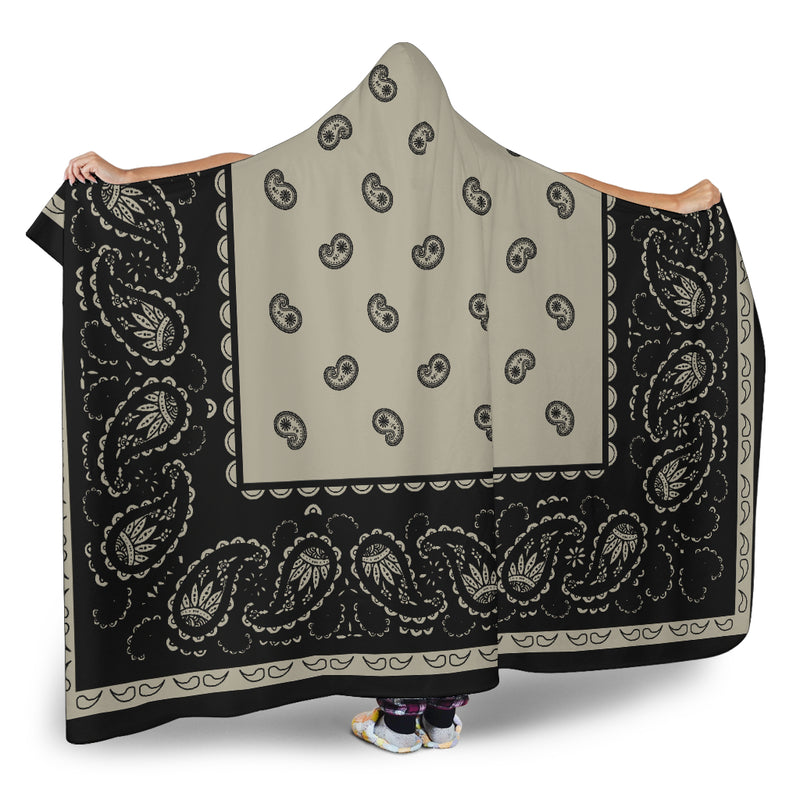 Khaki and Black Hooded Fleece Blankets