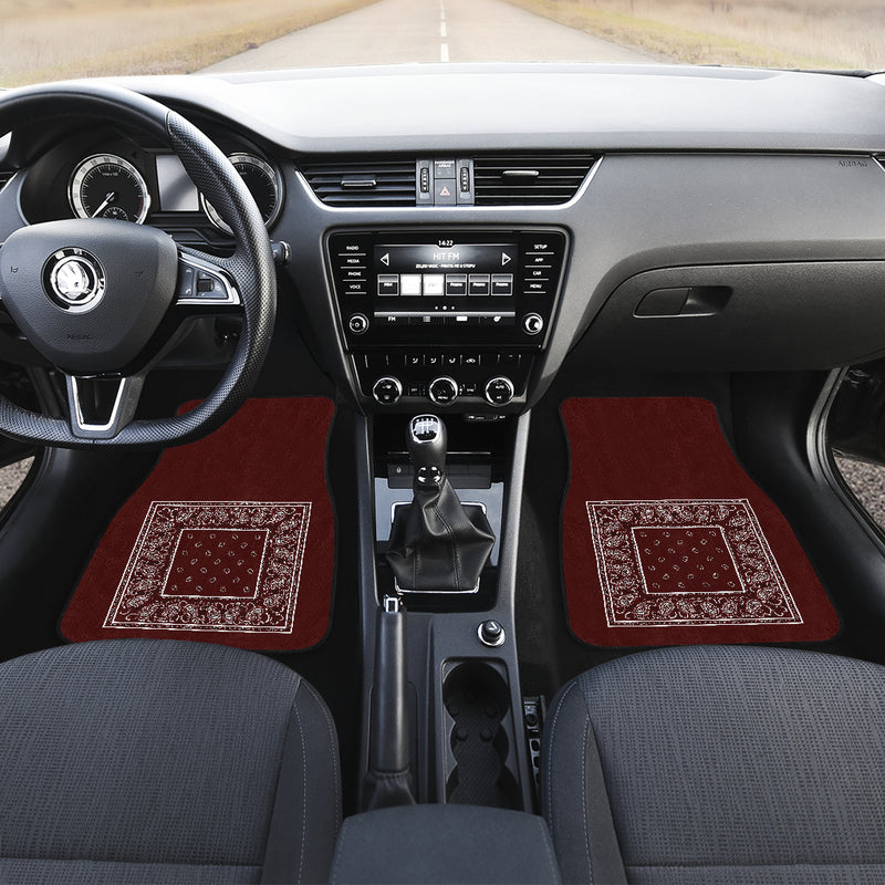Burgundy bandana auto floor mat for car shows