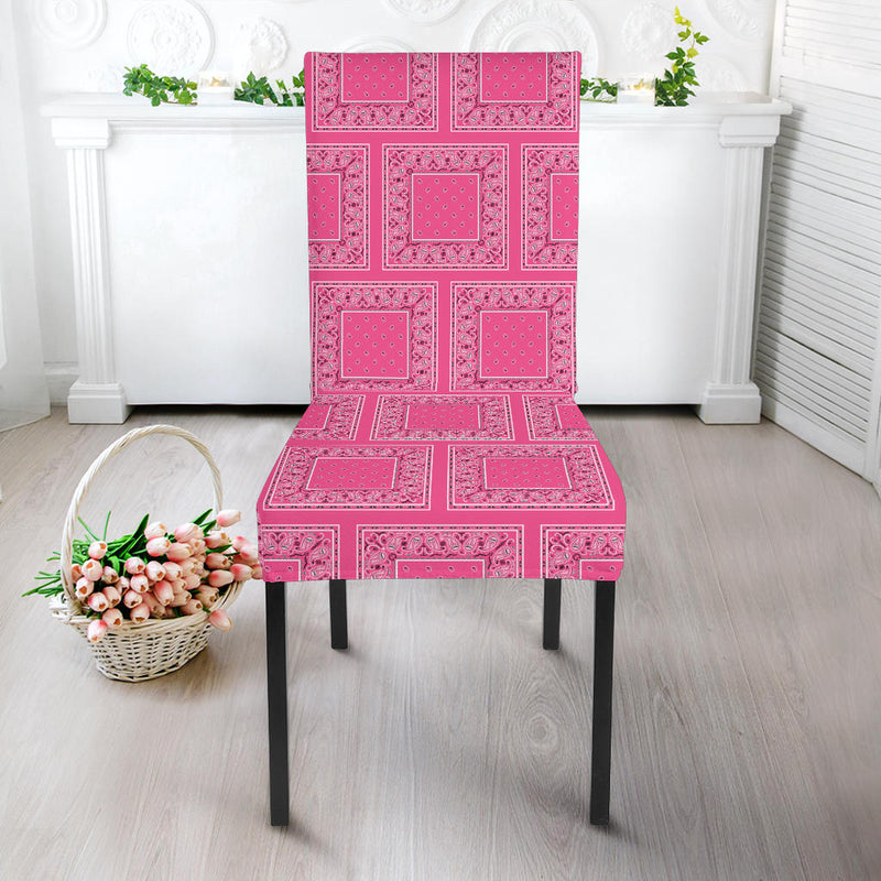 Warm Pink Bandana Dining Chair Covers - 4 Pattern
