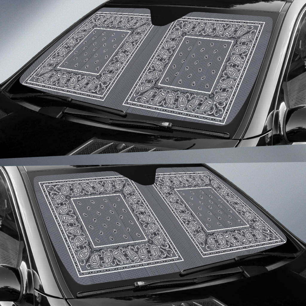 Classic Gray Bandana Car Window Shade