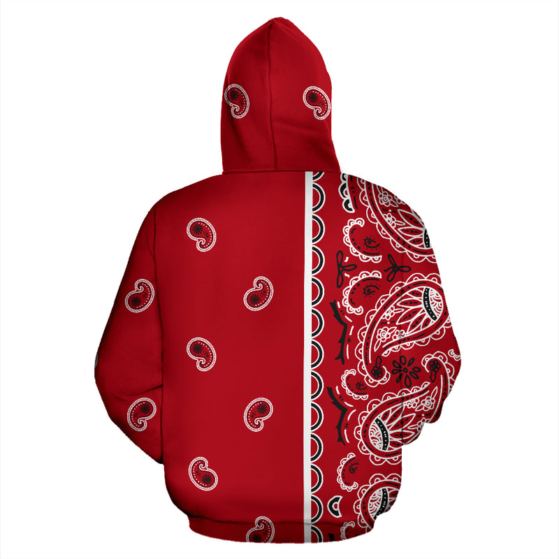 red bandana pullover hoodie back view