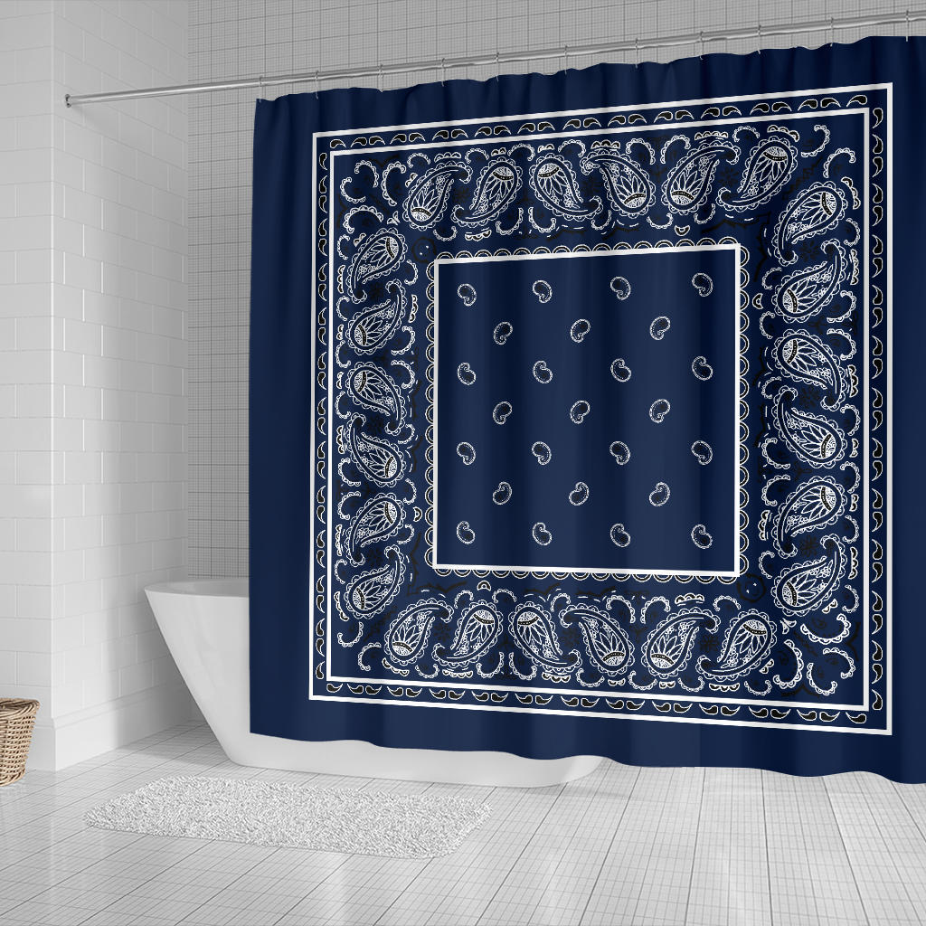 Navy Blue Bandana Shower Curtains