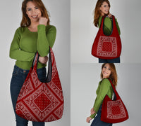 maroon red bandana shopping bags