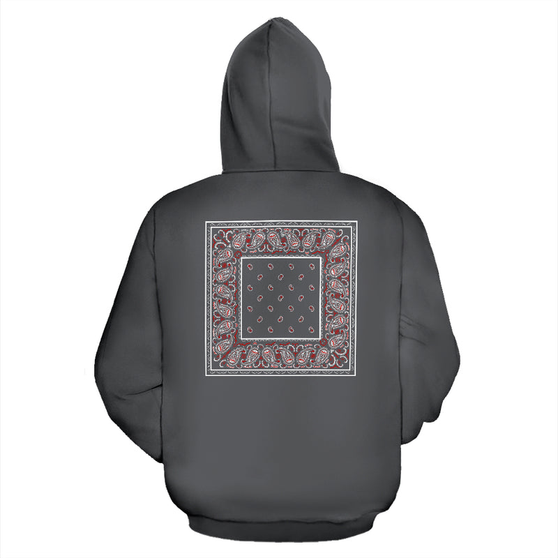 gray and red bandana hoodie back view